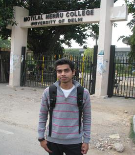 Jasbeer in front of his college