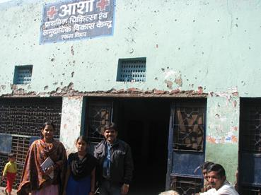 Bindu with the Asha staff outside the Asha Slum centre in Ekta Vihar slum